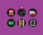 Metro Subway Icons Vector