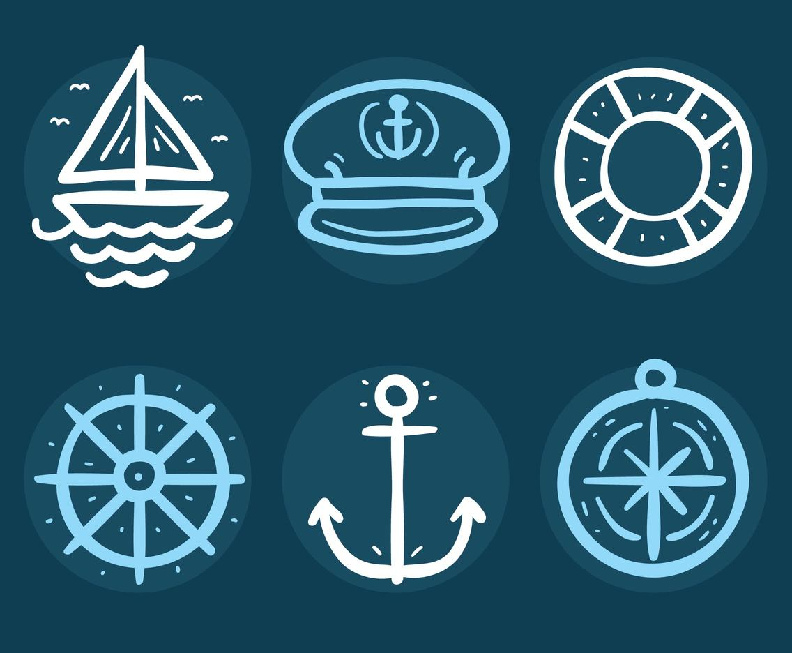 Sketch Sailor Icons Vector