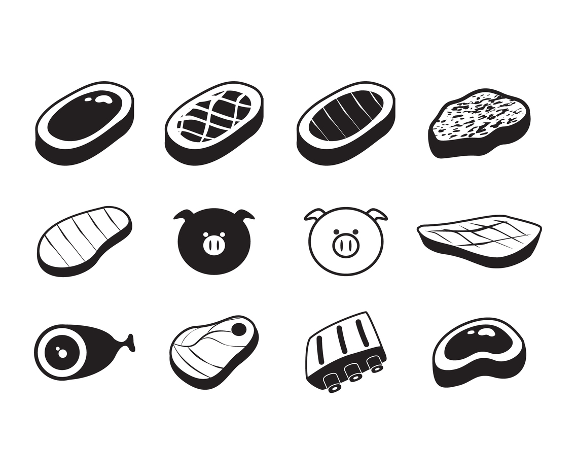Pork Cuts Icon Vector Set