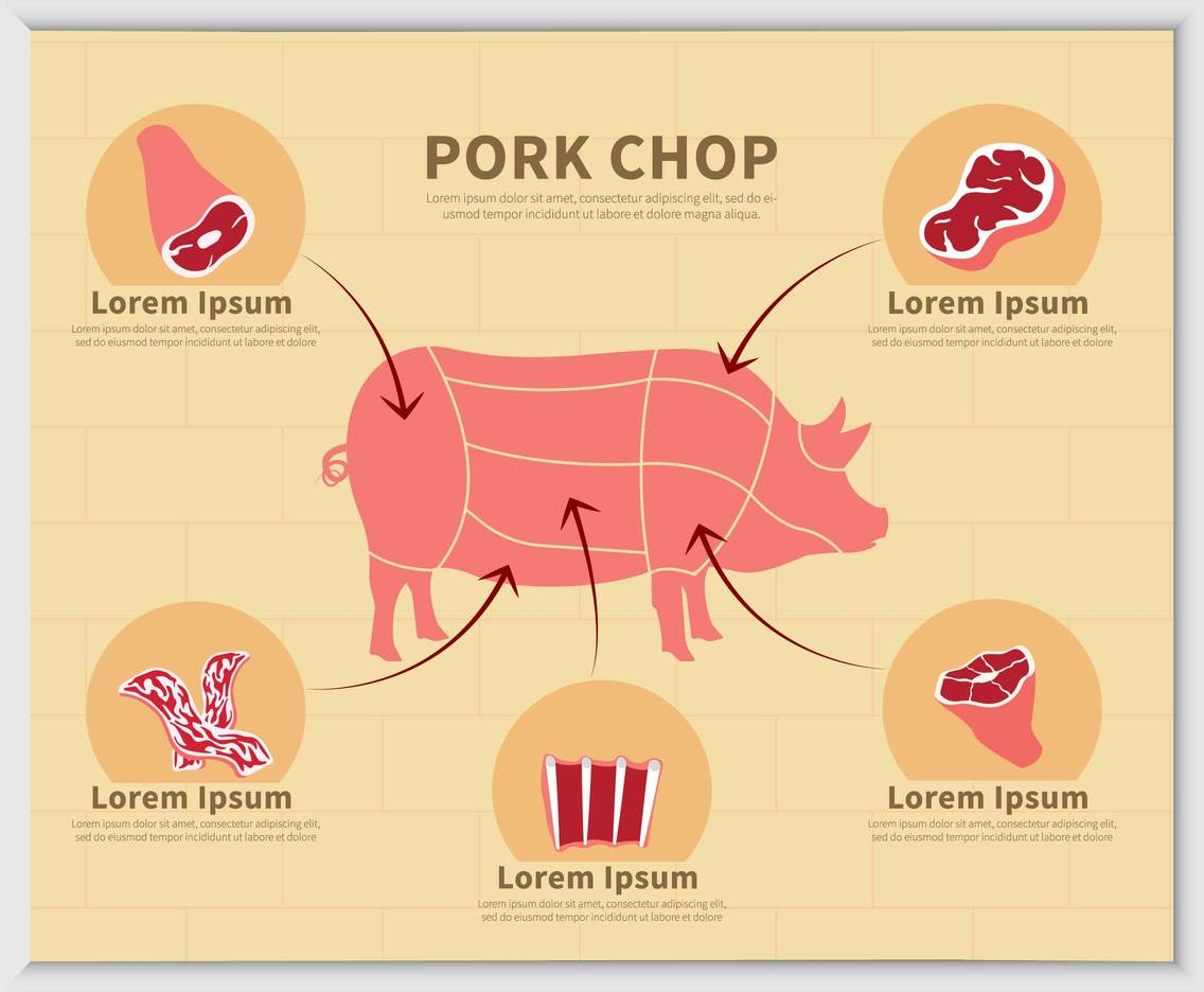 Free Pork With Type Of Meat Illustration