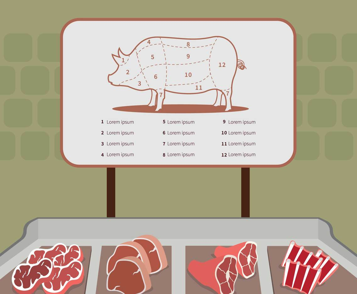 Free Pork Meat Shop Illustration