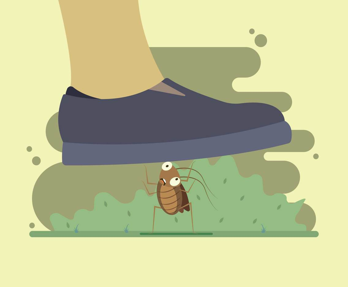 Squashing a Cockroach Illustration
