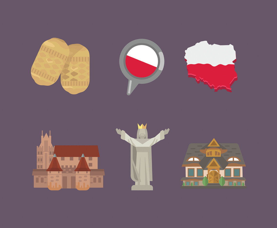Poland Vector Purple Background