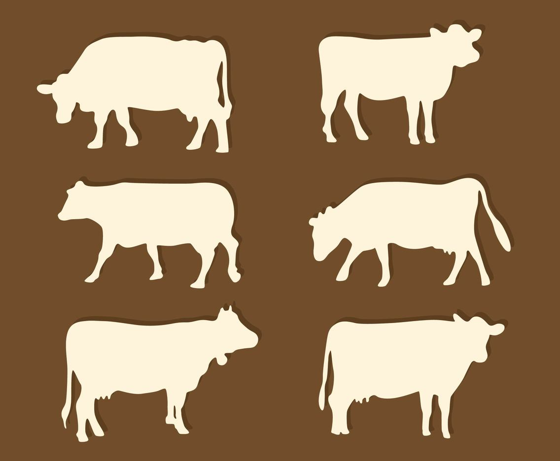 Silhouette Cattle Vector