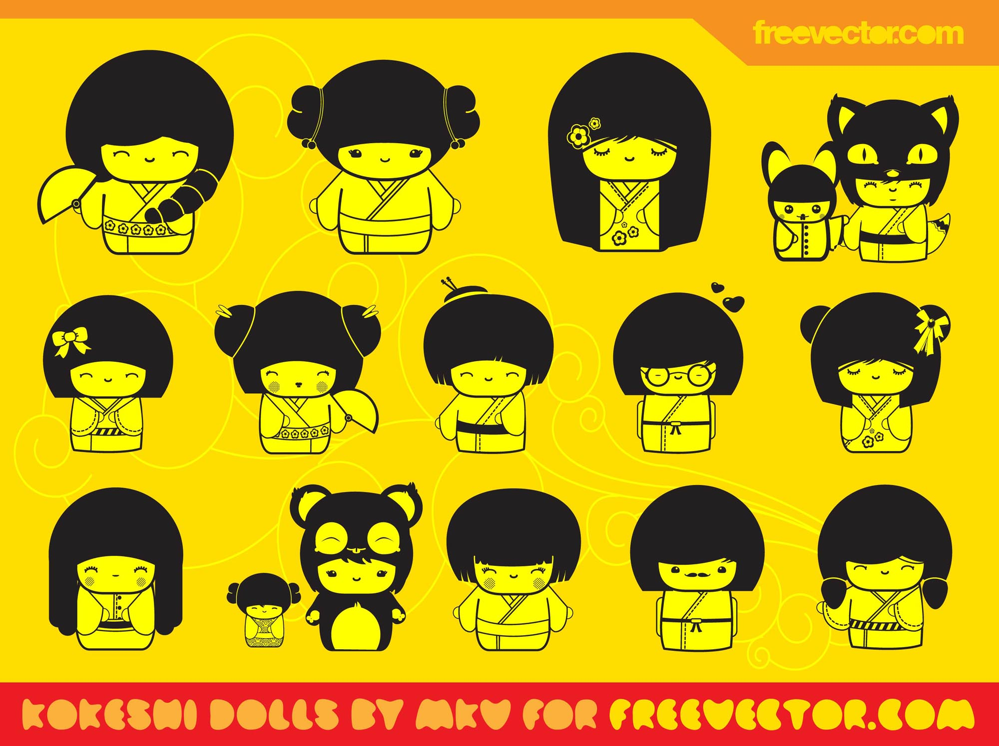 Kawaii Dolls Vectors