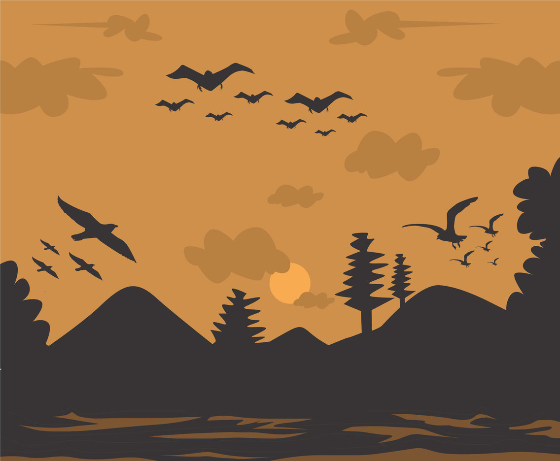Flock in Sunset Vector