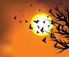 Flock of Birds in Sunset Vector