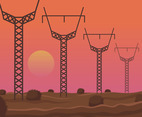 Desert Power Electricity Pylon Vector