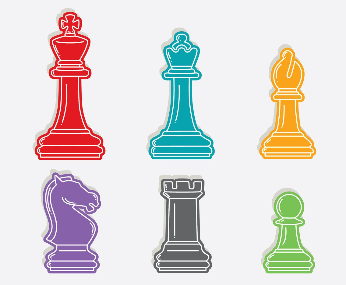 Colorful Chess Pieces Vector