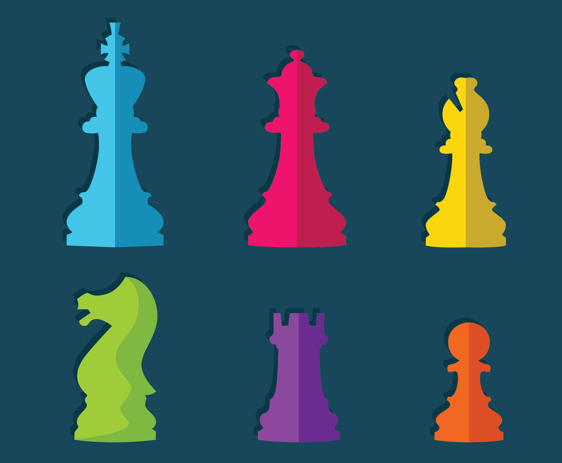 Colorful Flat Chess Pieces Vector