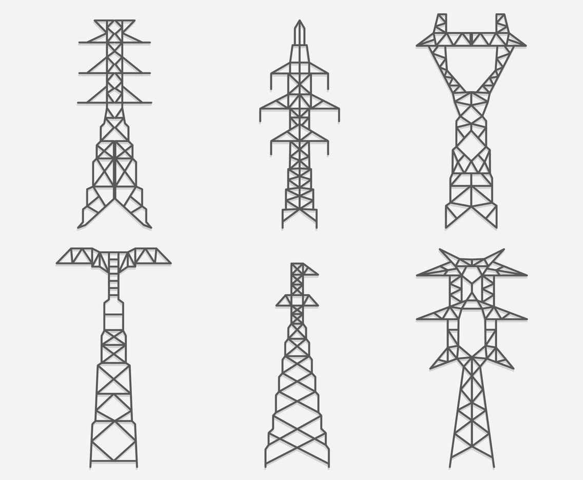 Electric Pylon Collection Vector