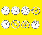 Quick Time Icons On Yellow Vector