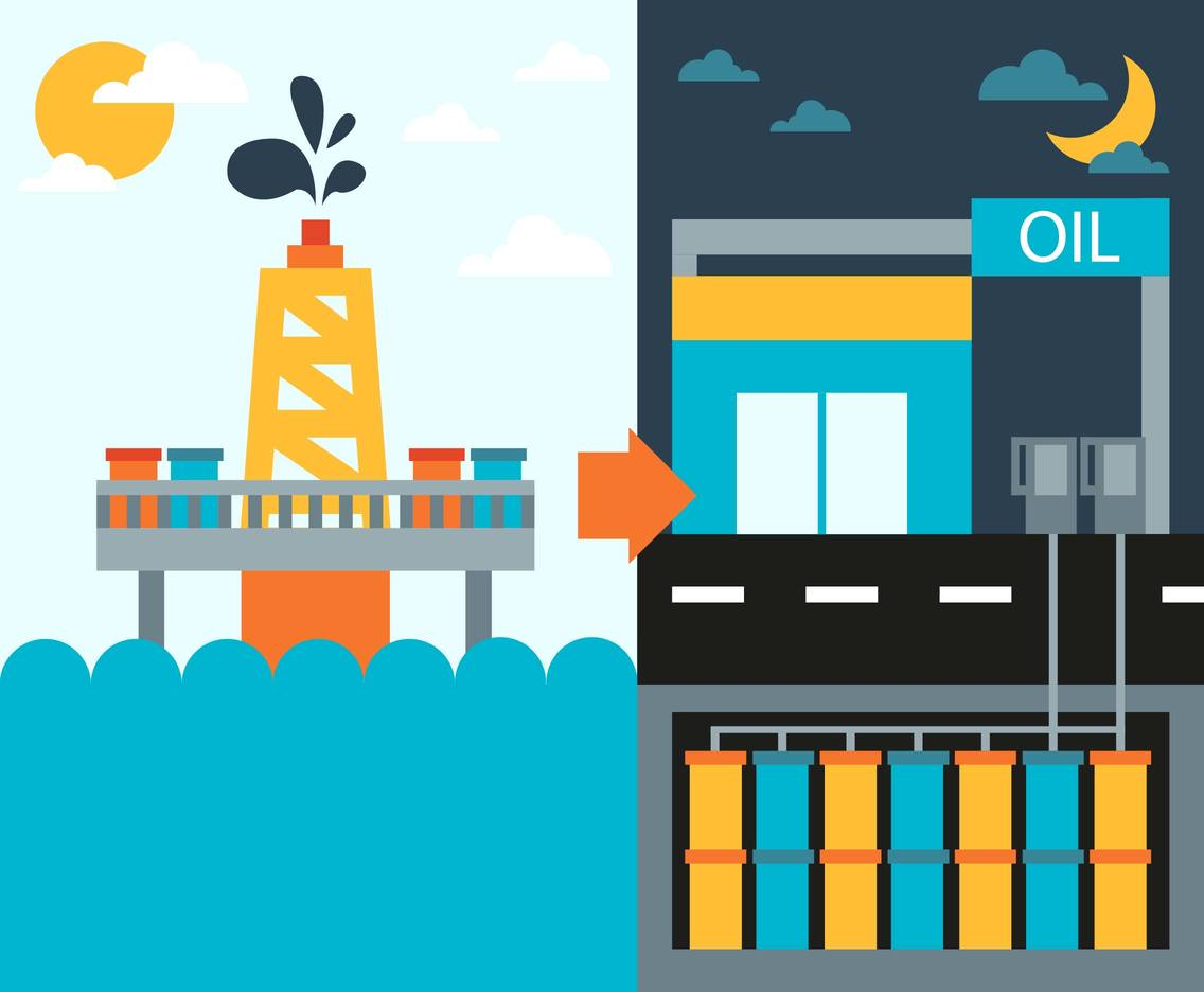 Rig Oil Process Flat Illustration Vector