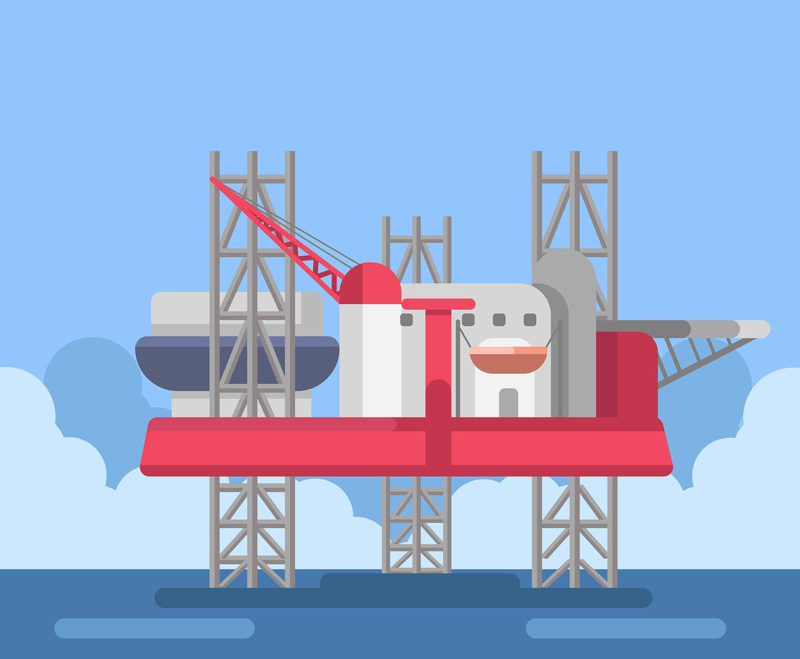 Offshore Drilling Rig Vector