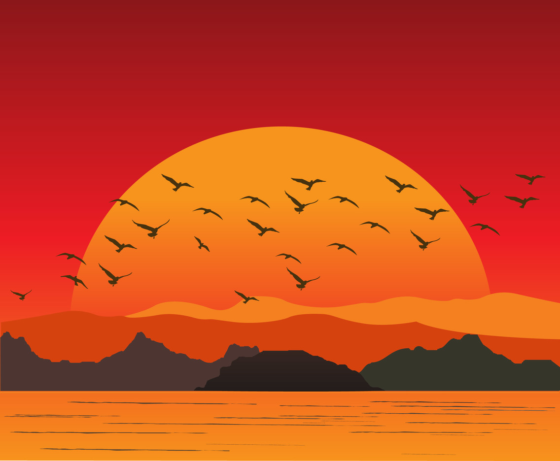 Flock of Birds Background Vector