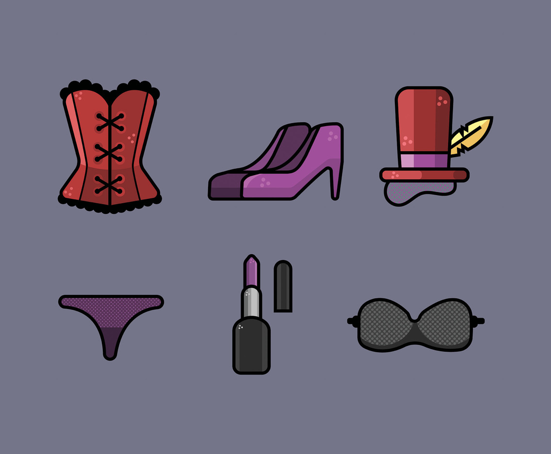 Burlesque Costume Vector in Thick Line