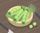 Peas in Pods Vector