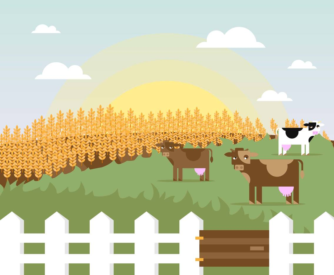 Cattle Cows Field Landscape Illustration Vector