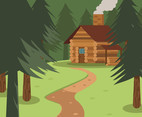 Cabin in a Woods Vector