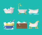 Bathtub Vector in Flat Design