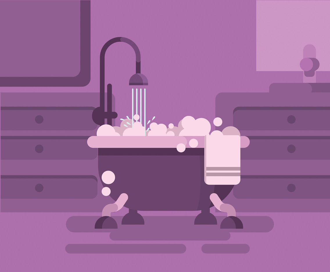 Bathtub and Bubbles Vector
