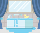 Bathtub and Rubber Duck Vector