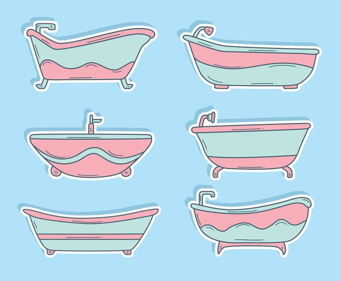 Pink And Blue Bathtub Collection Vector