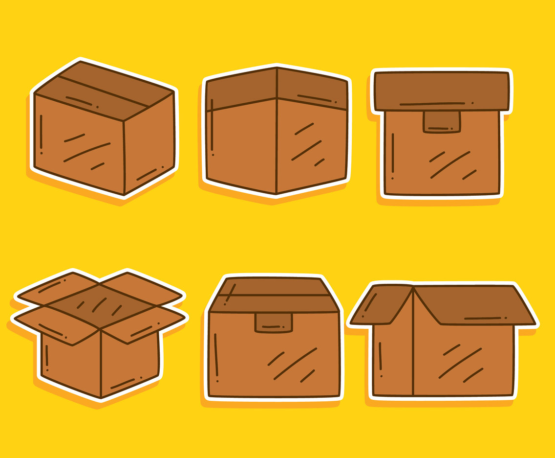 Carton Box On Yellow Vector
