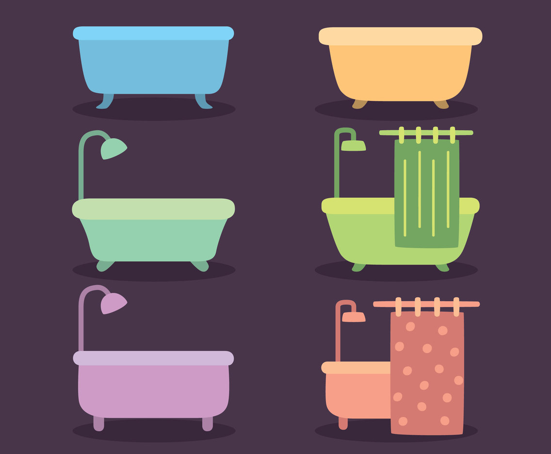 Nice Colored Bathtub Collection Vector