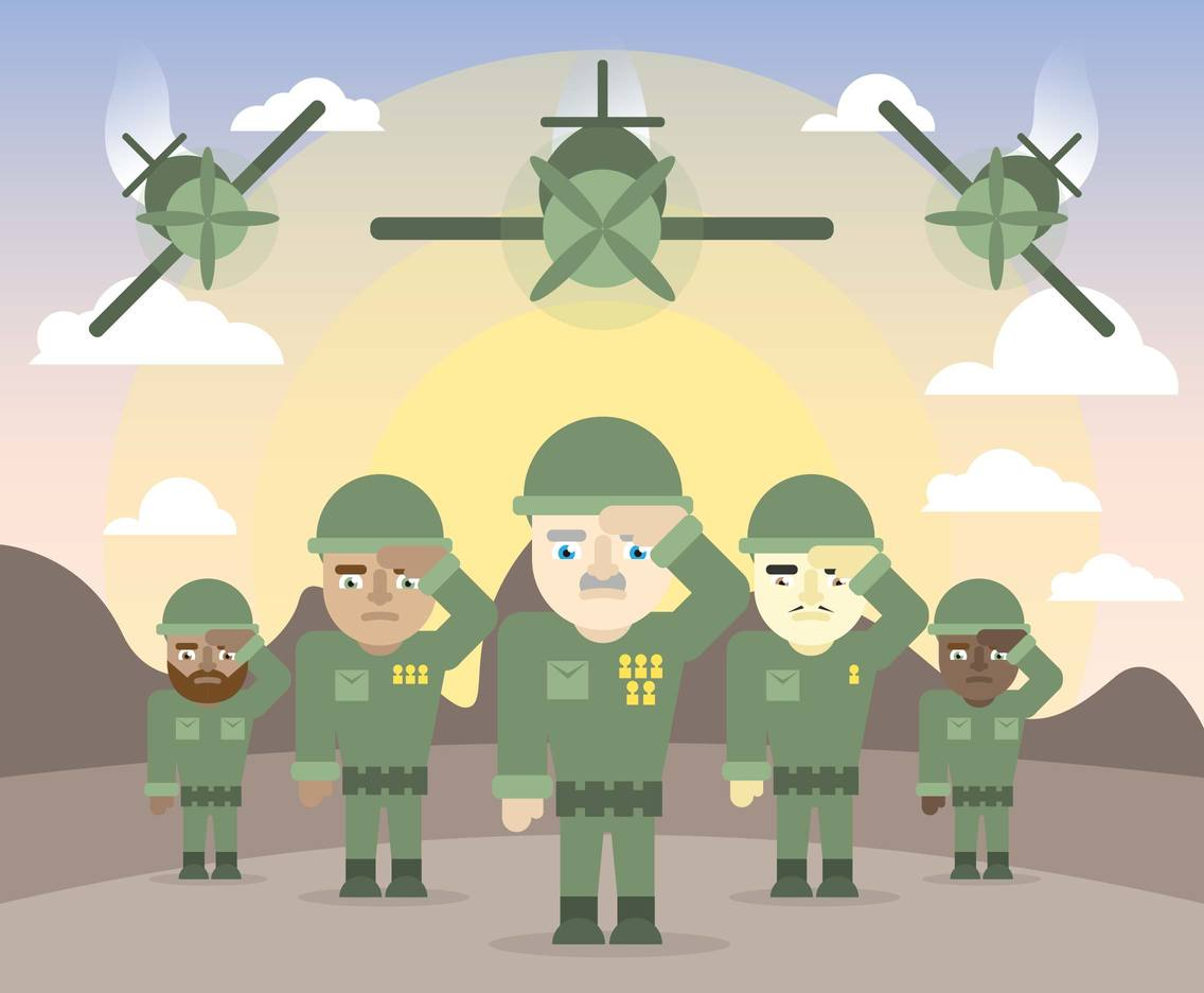 Trooper Soldiers Planes Illustration Vector