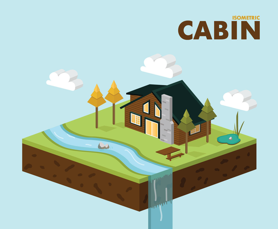 Isometric Cabin Vector Design