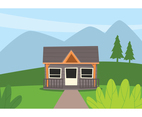 Cabin Landscape Illustration