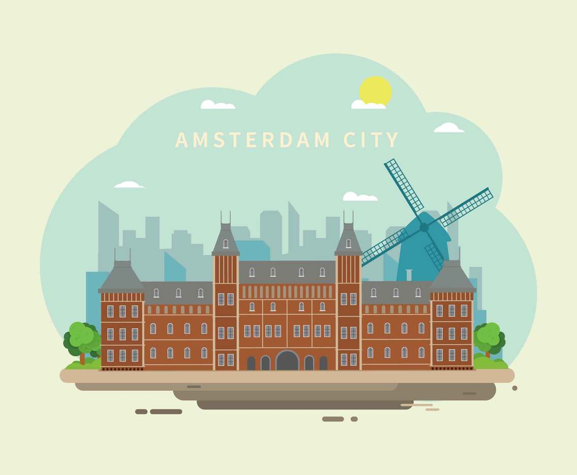 Free Amsterdam Landmark Illustration