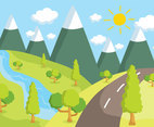 Green Valley Illustration Vector