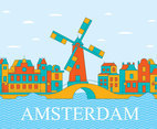 Amsterdam City On Blue Sky Vector