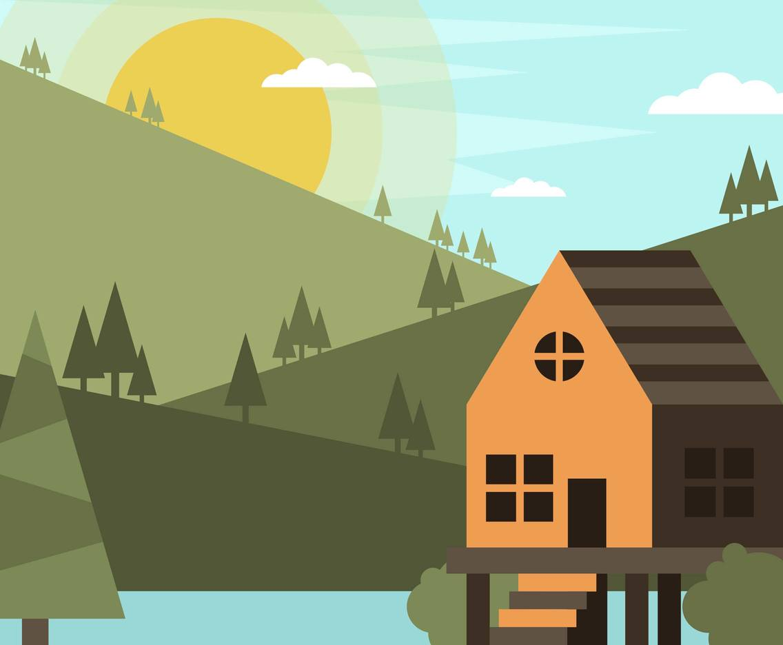 Cabin Woods Landscape Flat Illustration Vector