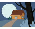 Supermoon Cabin In The Woods Vector