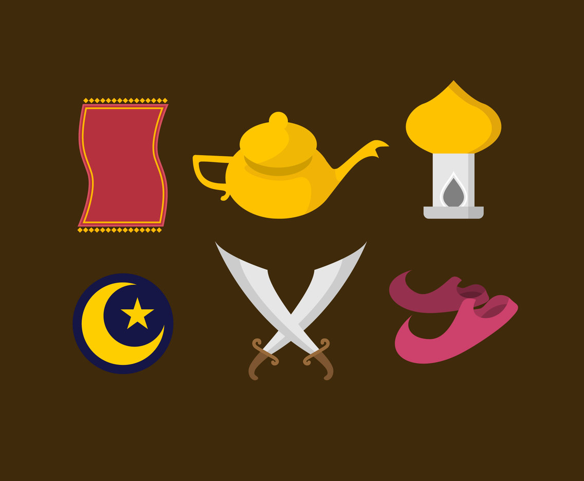 Arabic Tale Icons Vector