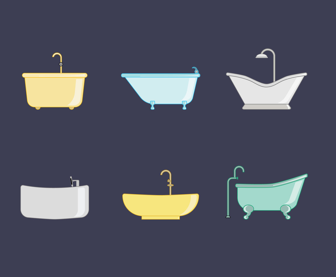 Various Bathtubs Vector