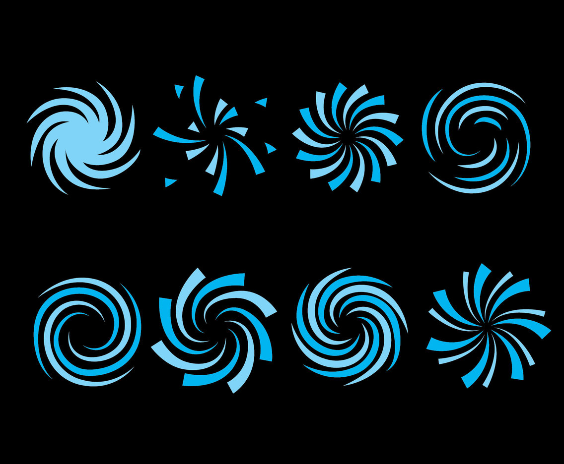 Blue Whirlpool On Black Vector
