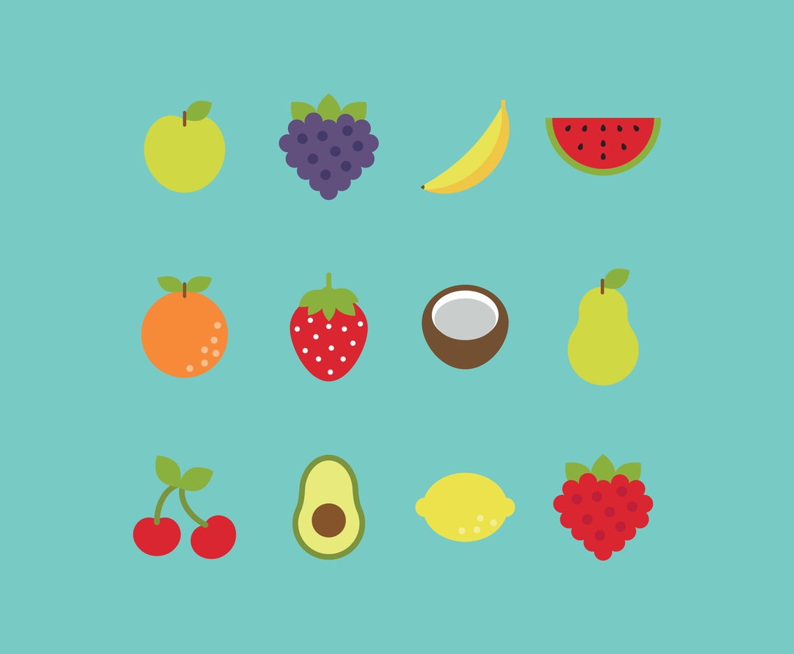 Flat Colorful Fruits