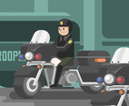 State Trooper and Motorcycle Vector