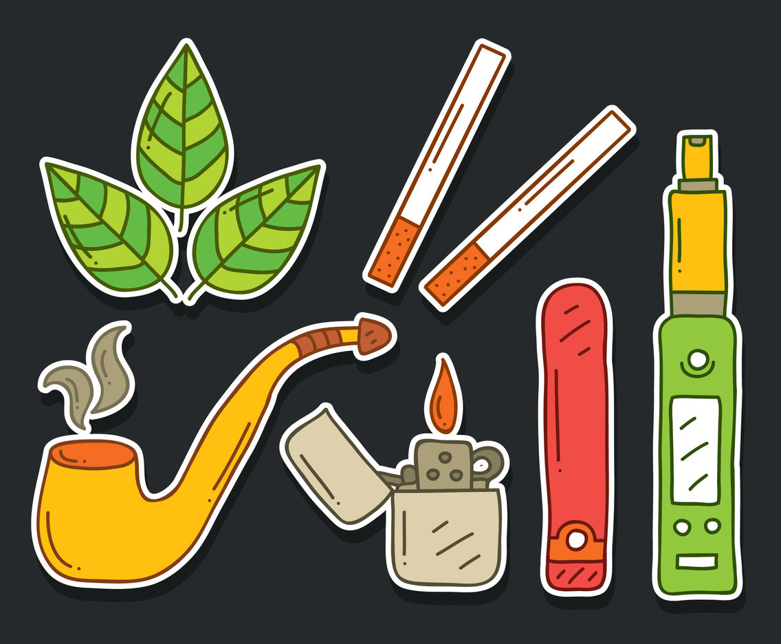 Hand Drawn Tobacco And Smoking Vector