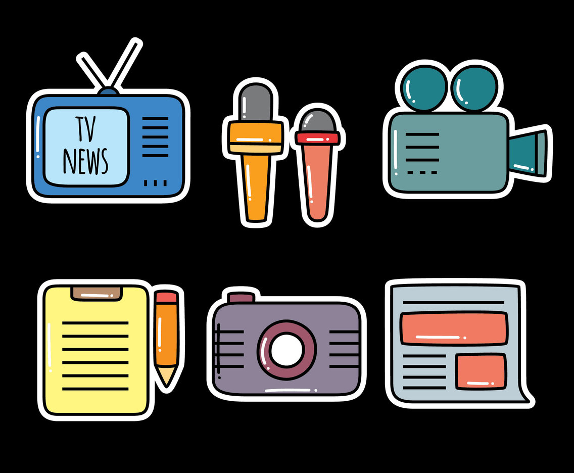 Journalist Element On Black Vector