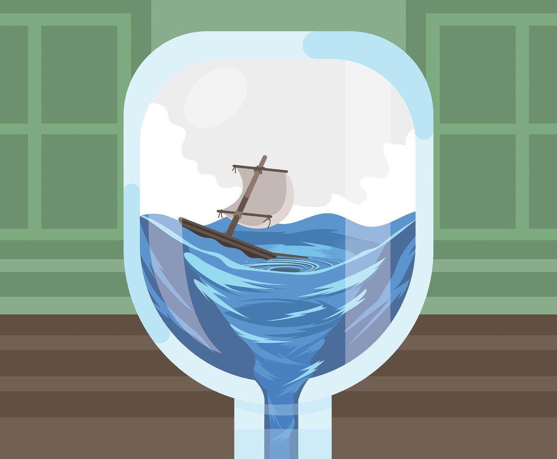 Whirlpool and Sailboat Vector