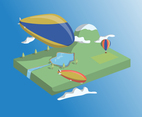 Flying Airship Over Landscape Vector