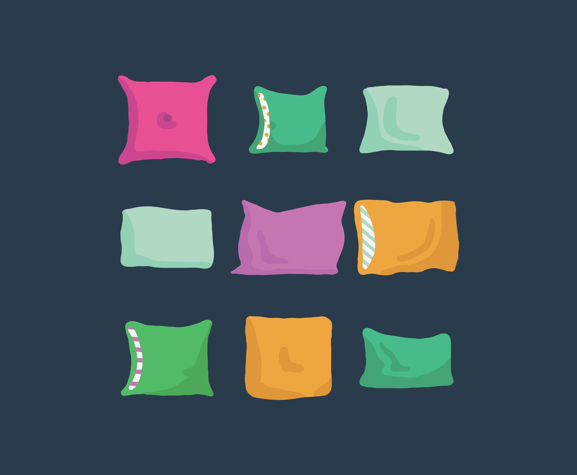 Colorful Doodles Of Pillows