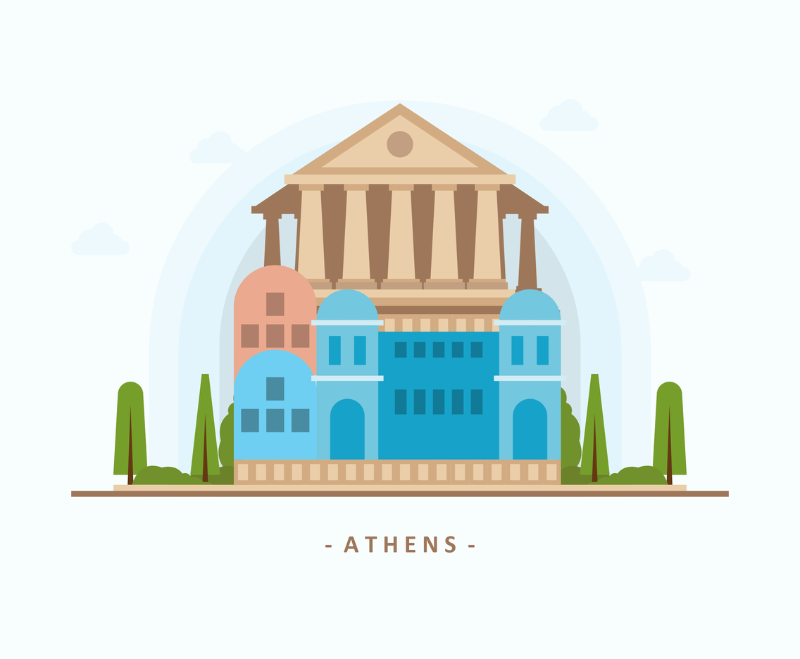 Flat Ancient Athens Building
