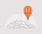 Flat Airship Over Mountains Vector