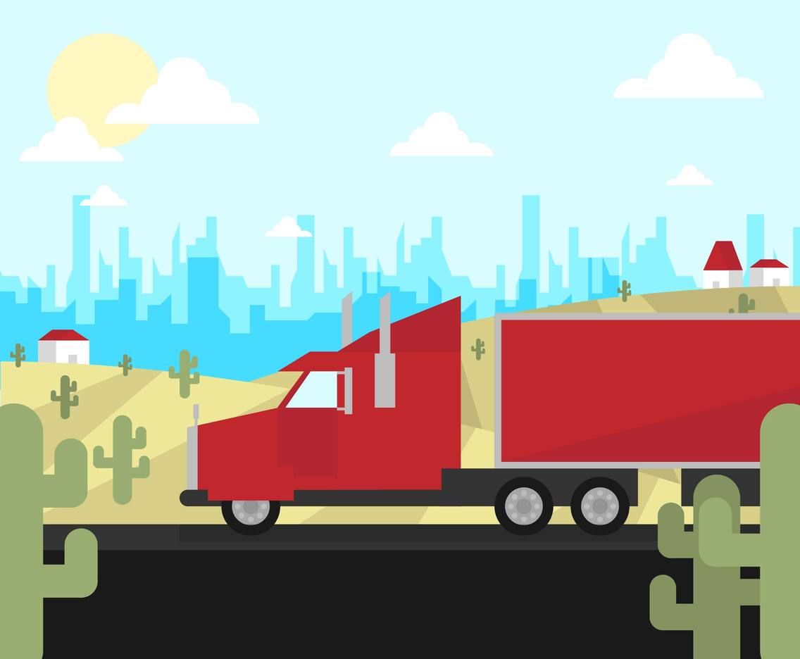 18 Wheeler Landscape Highway Illustration Vector